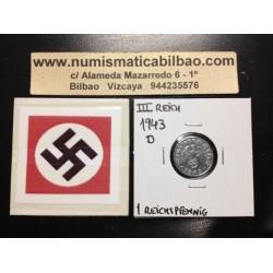 ALEMANIA 1 REICHSPFENNIG 1943 D ESVASTICA NAZI III REICH MONEDA DE ZINC