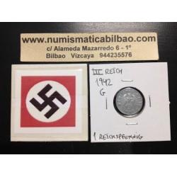 ALEMANIA 1 REICHSPFENNIG 1942 G ESVASTICA NAZI III REICH MONEDA DE ZINC
