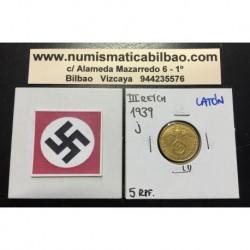 ALEMANIA 5 REICHSPFENNIG 1939 J ESVASTICA NAZI III REICH MONEDA DE LATON SC- 1