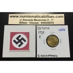 ALEMANIA 5 REICHSPFENNIG 1937 E ESVASTICA NAZI III REICH MONEDA DE LATON @LUJO@