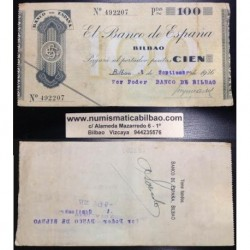 BILBAO 100 PESETAS 1936 BANCO DE BILBAO SIN SERIE 492207 Pick S555 GOBIERNO DE EUSKADI BILLETE / TALON LOCAL GUERRA CIVIL