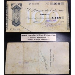 BILBAO 100 PESETAS 1936 BANCO DE VIZCAYA SIN SERIE 534326 Pick S555 GOBIERNO DE EUSKADI BILLETE / TALON LOCAL GUERRA CIVIL