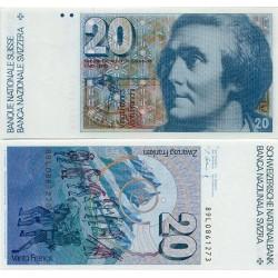 . SUIZA 20 FRANCOS 1978 SAUSSURE SC SWITZERLAND FRANCS BILLETE