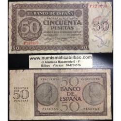 50 PESETAS 1936 NOVIEMBRE 21 BURGOS Serie F228829 MBC- ESPAÑA