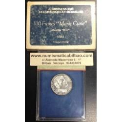 FRANCIA 100 FRANCOS 1984 MAIE CURIE PLATA BU Silver Francs Fran