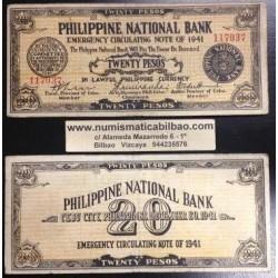 . FILIPINAS CEBU 20 PESOS 1941 GUERRILLA WWII Pick S218