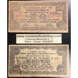. FILIPINAS BOHOL 50 CENTAVOS 1942 GUERRILLA WWII Pick S134 CTS