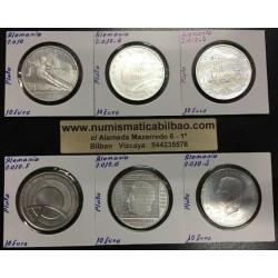 10 EUROS 2010 ALEMANIA A+D+F+G+J + NO LETRA 6 MONEDAS DE PLATA SC Germany Euro coins BRD