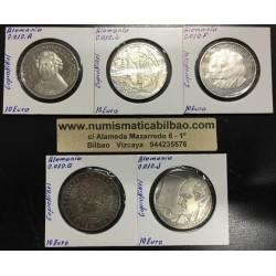 10 EUROS 2012 ALEMANIA A+D+F+G+J 5 MONEDAS DE NICKEL SC Germany Euro coins BRD