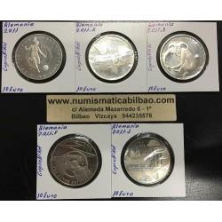 10 EUROS 2011 ALEMANIA A+D+F+J + NO LETRA 5 MONEDAS DE NICKEL SC Germany Euro coins