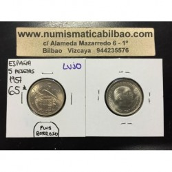 ESPAÑA 5 PESETAS 1957 * 65 FRANCO SIN CIRCULAR NICKEL MEDIO PLUS