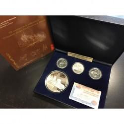 ESPAÑA 10 EUROS (3 monedas) + 50 EUROS 2005 IV CENTENARIO DEL QUIJOTE 4 MONEDAS DE PLATA ESTUCHE y CERTIFICADO FNMT