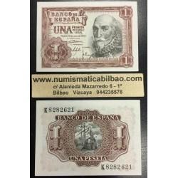ESPAÑA 1 PESETA 1953 MARQUES DE SANTA CRUZ Serie K Pick 144 BILLETE PLANCHA SIN CIRCULAR Spain banknote