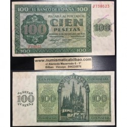 ESPAÑA 100 PESETAS 1936 CATEDRAL DE BURGOS Serie J 738523 Pick 101 BILLETE EBC- Spain banknote