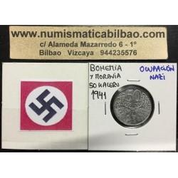 BOHEMIA y MORAVIA 50 HALERU 1941 Hoy Chekia KM.3 MONEDA DE ZINC OCUPACION NAZI III REICH WWII