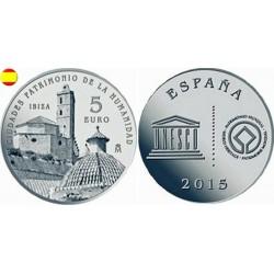 . ESPAÑA 5 EUROS 2015 PLATA FNMT UNESCO IBIZA SET