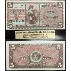 . 5 DOLARES 1968 US MILITARY PAYMENT CERTIFICATE Pick M69 USA SC