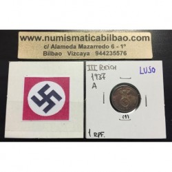 ALEMANIA 1 REICHSPFENNIG 1937 A ESVASTICA NAZI III REICH MONEDA DE COBRE @LUJO@