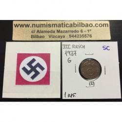 ALEMANIA 1 REICHSPFENNIG 1937 G ESVASTICA NAZI III REICH MONEDA DE COBRE @RARA@ 2