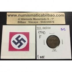 ALEMANIA 1 REICHSPFENNIG 1940 F ESVASTICA NAZI III REICH MONEDA DE COBRE SC 2