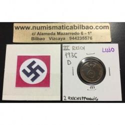 ALEMANIA 2 REICHSPFENNIG 1936 D ESVASTICA NAZI III REICH MONEDA DE COBRE @RARA - LUJO@ 1