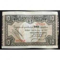 1937 EUSKADI 10 PESETAS BANCO de BILBAO MBC+ 107558 @RARO@