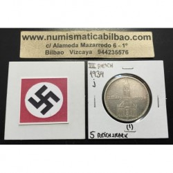 ALEMANIA 5 MARCOS 1934 J IGLESIA DE POSTDAM CON FECHAS MONEDA NAZI DE PLATA DEL III REICH 5 Reichsmark 1