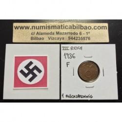 ALEMANIA 1 REICHSPFENNIG 1936 F ESVASTICA NAZI III REICH MONEDA DE COBRE @RARA@