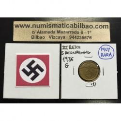 ALEMANIA 5 REICHSPFENNIG 1936 G ESVASTICA NAZI III REICH MONEDA DE LATON @MUY RARA@