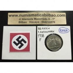 ALEMANIA 1 MARCO 1938 F AGUILA NAZI III REICH MONEDA DE NICKEL REICHSMARK @LUJO@