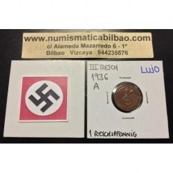 ALEMANIA 1 REICHSPFENNIG 1936 A ESVASTICA NAZI III REICH MONEDA DE COBRE SC @RARA@