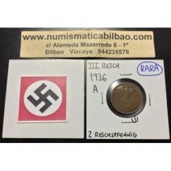 ALEMANIA 2 REICHSPFENNIG 1936 A ESVASTICA NAZI III REICH MONEDA DE COBRE @RARA@ EBC 1