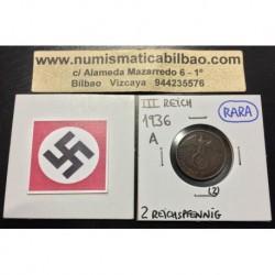 ALEMANIA 2 REICHSPFENNIG 1936 A ESVASTICA NAZI III REICH MONEDA DE COBRE @RARA@ EBC- 2