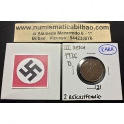 ALEMANIA 2 REICHSPFENNIG 1936 D ESVASTICA NAZI III REICH MONEDA DE COBRE @RARA@ 3