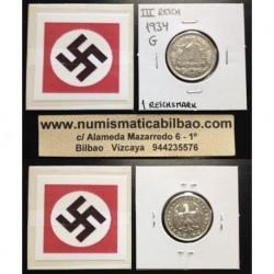 ALEMANIA 1 MARCO 1934 G AGUILA NAZI III REICH MONEDA DE NICKEL REICHSMARK EBC+
