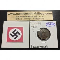 ALEMANIA 2 REICHSPFENNIG 1940 D ESVASTICA NAZI III REICH MONEDA DE COBRE @LUJO@