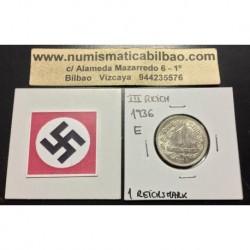 ALEMANIA 1 MARCO 1936 E AGUILA NAZI III REICH MONEDA DE NICKEL REICHSMARK @RARA@