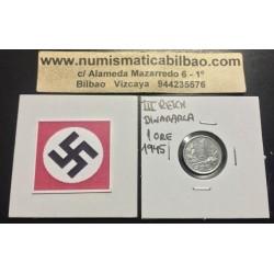 DINAMARCA 1 ORE 1945 CX BAJO CORONA KM.832 MONEDA DE ZINC OCUPACION NAZI III REICH WWII Denmark