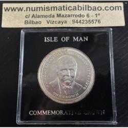 ISLA DE MAN 1 CORONA 1974 WINSTON CHURCHILL KM.30.A MONEDA DE PLATA SC Isle of Man silver coin