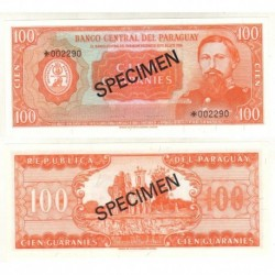 . PARAGUAY 100 GUARANIES 1979 (1952) SPECIMEN 3993 Pick 199 SC
