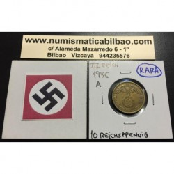 ALEMANIA 10 REICHSPFENNIG 1936 A ESVASTICA NAZI III REICH MONEDA DE LATON @MUY RARA@