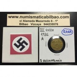 ALEMANIA 5 REICHSPFENNIG 1936 A ESVASTICA NAZI III REICH MONEDA DE LATON @MUY RARA@