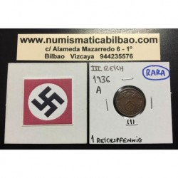 ALEMANIA 1 REICHSPFENNIG 1936 A ESVASTICA NAZI III REICH MONEDA DE COBRE LUJO 1 @RARA@