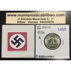 ALEMANIA 1 MARCO 1934 A AGUILA NAZI III REICH MONEDA DE NICKEL REICHSMARK @LUJO@
