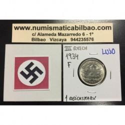 ALEMANIA 1 MARCO 1934 F AGUILA NAZI III REICH KM.78 MONEDA DE NICKEL @LUJO@ Germany 1 Reichsmark Deutsches Reich