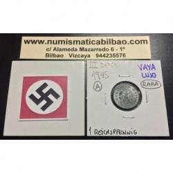 ALEMANIA 1 REICHSPFENNIG 1945 A ESVASTICA NAZI III REICH MONEDA DE ZINC @RARA y LUJO@