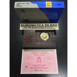 ESPAÑA 10000 PESETAS 1991 OLIMPIADA DE BARCELONA 92 TAE-KWONDO MONEDA DE ORO PROOF ESTUCHE FNMT
