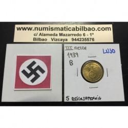 ALEMANIA 5 REICHSPFENNIG 1939 B ESVASTICA NAZI III REICH MONEDA DE LATON @LUJO@
