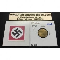 ALEMANIA 5 REICHSPFENNIG 1939 E ESVASTICA NAZI III REICH MONEDA DE LATON @LUJO@