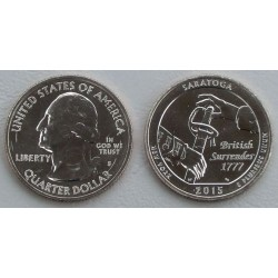 ESTADOS UNIDOS 25 CENTAVOS 2015 P PARQUE NACIONAL SARATOGA EN NEW YORK MONEDA DE NICKEL SC USA QUARTER